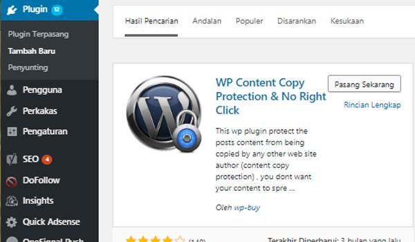 Cara Agar Blog WordPress Tidak Bisa di Copy Paste