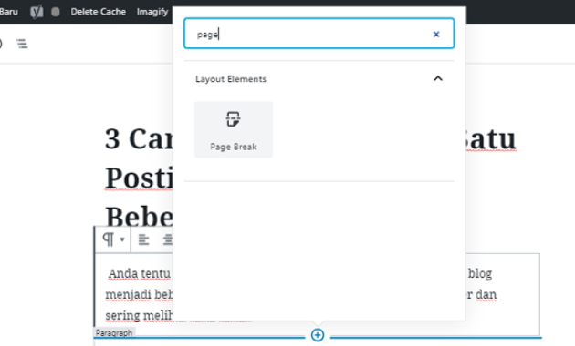 cara menampilkan page break WordPress